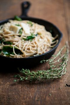 Naturally Ella | Garlic-Butter Pasta with Spinach and Parmesan