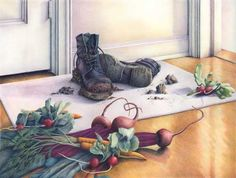 colored pencil still life drawings of still life set up, polished wooden floor and tossed vegetables- Jo Bradney Pencil Art, Pencil Drawings, Still Life Drawing, Coloured Pencils, Drawing Lessons, Doodle Drawings, Color Of Life, Art Pictures, Art Gallery