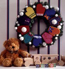 Christmas Greetings Mitten Wreath