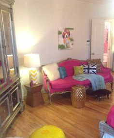 pink couch, leopard, mirrored armoire