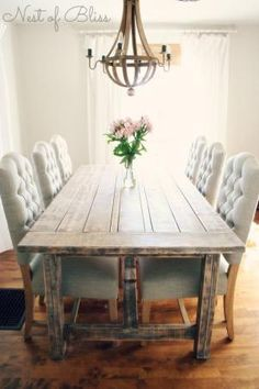 Rustic dining table with tufted Wicker Emporium dining chairs - Nest of Bliss by sadavies