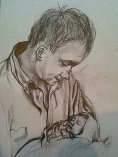 Father and daughter, sketch by Clarissa Jeffery  @clarissajeffery