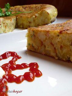 Tortilla española con queso y baicón.Una forma diferente de preparar la tortilla española de una manera, rápida, fácil, económica y sencilla. Explicada paso a paso con fotos en cada uno de ellos.