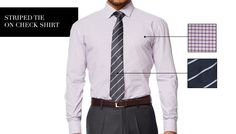 Match Your Shirts and Ties | Striped tie on Check shirt