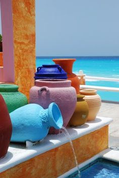 Colorful mexican pots #mexico #pottery #ColorsOfMexico                                                                                                                                                     More