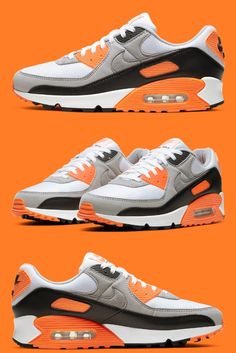 Nike is releasing their re-crafted Air Max 90 in a new orange, white, and black colorway. Air Max Day, White Style, New Trends, Cork, Nike Air Max, Streetwear, Air Jordans, Sportswear, Black Leather