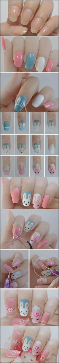DIY Easter bunny nail #diy #Easter #nail art