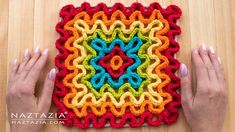 The Crochet Wavy Pad is a fun square to make using the wiggle or wiggly crochet technique. The crochet waves form a ruffle effect over a mesh base. Crochet Home, Free Crochet, Knit Crochet, Crochet Coaster, Crochet Geek, Cotton Crochet, Wiggly Crochet Patterns, Knitting Patterns, Doily Patterns