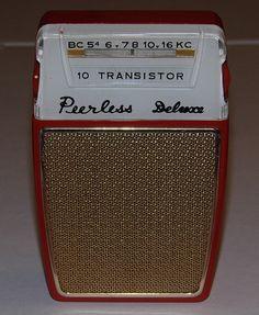 Vintage Peerless Deluxe 10-Transistor Radio (No Model Number), Reverse Paint…