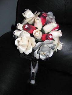 bridal bouquet using wooden roses! My aunt put them together for me! Wooden Flowers, Aunt, Bouquet, Wedding Ideas, Bridal, Bouquet Of Flowers, Bouquets, Floral Arrangements, Bride