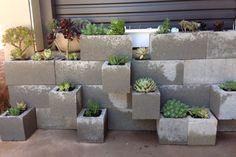 Tiered Modular Succulent Planter from Concrete Cinder Blocks