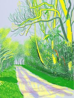 Available for sale from Annely Juda Fine Art, David Hockney, The Arrival of Spring in Woldgate, East Yorkshire in 2011 (twenty eleven) - 12 April, David Hockney Ipad, David Hockney Art, David Hockney Paintings, David Hockney Landscapes, Landscape Art, Landscape Paintings, Pop Art Movement, Contemporary Abstract Art, Museum Of Modern Art