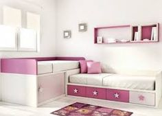 I like the two beds and storage idea for a two twin bedroom. different coloring Baby Girl Room, Kids Room, Room, Kid Room Decor, Girl Room, Room Design, Bedroom Design, Childrens Bedrooms, Small Bedroom