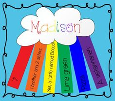 About Me Rainbow - First Day of School Activity Back To School Kindergarten Lesson Plan, All about ME!Back To School Kindergarten Lesson Plan, All about ME! First Day Of School Activities, Name Activities, 1st Day Of School, Beginning Of The School Year, Classroom Activities, All About Me Activities For Preschoolers, School Kids, Preschool First Day, Back To School Art