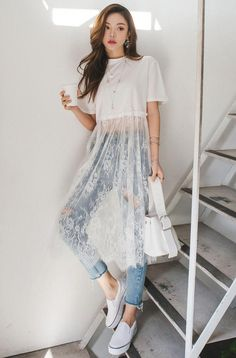 Long Mesh Floral Lace Insert Cropped T-Shirt white sheer lace crop top - Women's Fashion Look Fashion, Diy Fashion, Korean Fashion, Ideias Fashion, Fashion Dresses, Womens Fashion, White Fashion, Spring Fashion, Fashion Shirts