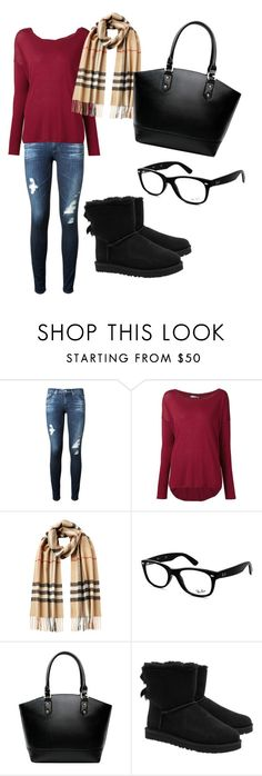 """Untitled #26"" by istyle5 ❤ liked on Polyvore featuring AG Adriano Goldschmied, Vince, Burberry, Ray-Ban and UGG Australia"