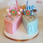 Split Lolly drip cake - cake by Michelle Donnelly - CakesDecor Half Birthday Cakes, Birthday Drip Cake, Birthday Cake Decorating, Birthday Cake For Twins, Baby Birthday, Birthday Ideas, Birthday Parties, Candy Cakes, Cupcake Cakes