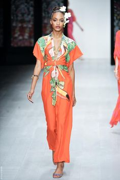 This modern dress uses the empire waistline and adds oriental print and kimono sleeves. Issa Spring/Summer 2013