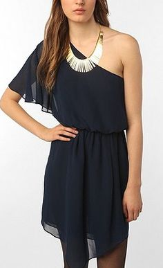 one shoulder navy dress