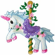 ch58 - Carousel Unicorn Embroidery Design