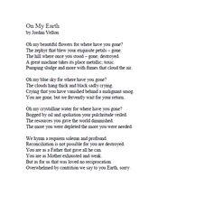 """2015 Teen Read Winning Written Entries- """"On My Earth"""" by Jordan Vellon"""
