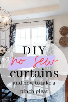 DIY No Sew Curtains-How to make DIY No Sew Curtains using only hem tape and how to fake a pinch pleat Pinch Pleat Curtains, No Sew Curtains, Pleated Curtains, How To Make Curtains, Inexpensive Curtains, Diy House Projects, Sewing Projects, Do It Yourself Crafts, How To Make Diy