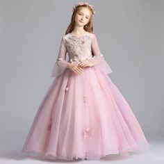 38ddbcf9532 Elegant Blushing Pink Flower Girl Dresses 2019 A-Line   Princess Scoop Neck  Bell sleeves