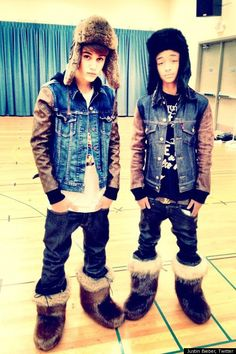 "Justin Bieber tweeted this picture of himself and his friend Jaiden Smith, son of Will and Jada, wearing what he called ""swagg boots""...short for swagger. The Canadian singer frequently rocks the fur look."