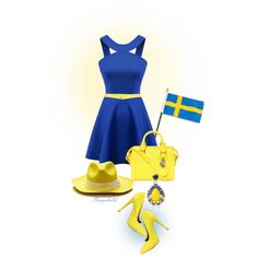 6th of June Hurra for Sweden by ragnh-mjos on Polyvore featuring Qupid, Alexander McQueen, Anton Heunis and DOUUOD