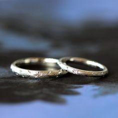 イズマリッジ:繊細な掘り模様が光るプラチナのマリッジリング(オーダーメイド/手作り) [marriage , wedding , ring , Pt900 , diamond , ウエディング,結婚指輪,ダイヤモンド]