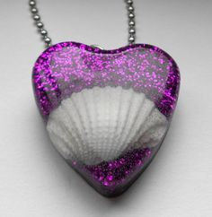Purple Sea Shell Heart Pendant Necklace  FREE SHIPPING
