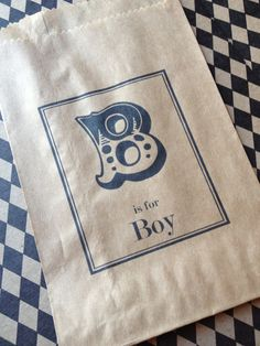 25 Custom B is for Boy Candy Bags-Candy Buffet-Baby Shower, Vintage Circus, Popcorn Bag, Peanut Bag. $15.00, via Etsy.
