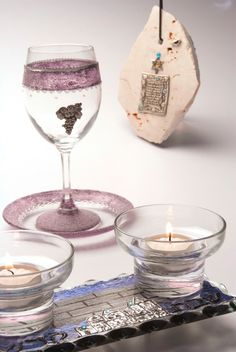 Shabbat Kiddush Glass and Saucer Hand Painted and by LDDecoline, $39.00