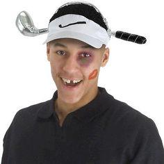 adult funny cheetah woods golf club golfer golfing costume visor hat cap