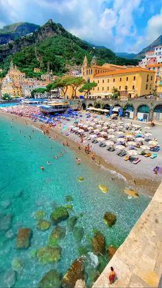 Vacation Places, Dream Vacations, Vacation Ideas, Places Around The World, Around The Worlds, Lindos Videos, Amalfi Coast Italy, Positano Italy, Virtual Travel