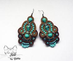 Handmade  Soutache Earrings, Brown Blue Beige earrings, Oriental indian earrings - Parwati