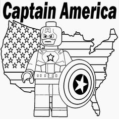 Free Prints Kids coloring Lego Marvel Super Heroes Minifigure Captain America Shield US map outline
