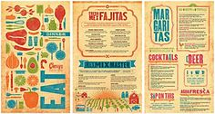 The cover of this menu is filled with many different illustrations and colors. This helps to draw the customers attention and give a detailed impression. The colors are repeated throughout the menu and this unifies the different pages through color repetition.