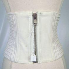 Kim Kardashian Sweet Face White Ribbed Leather Wide Corset Belt   eBay