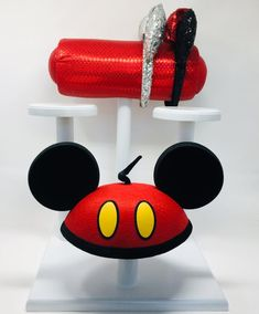 Disney Ear and Hat Display: Mouse Ear Display and 3 Hat Holders- Different Fabrics and Base Colors Available Earing Holder, Hat Holder, Mickey Mouse Ears, Disney Ears, Disney Headbands, 3 Hat, Hanging Closet Organizer, Hat Display, Hat Making