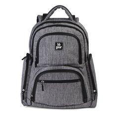 Baby Boom BB Gear Chevron Stripe Back Pack Diaper Bag, Gray