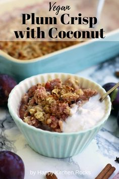 Delicious, vegan and gluten-free plum crisp with coconut makes for a great healthy dessert or breakfast. Easy 45-minute recipe from start to finish! Sweet Potato Rolls, Sweet Potato Cinnamon, Vegan Breakfast Recipes, Vegan Recipes, Snack Recipes, Vegan Food, Dinner Recipes, Dessert Recipes, Plum Crisp