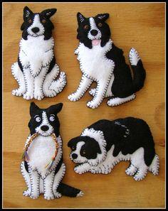 Border Collie cachorro-hecho a mano fieltro a Navidad