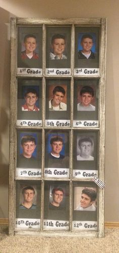 """Old window """"through the years"""" picture display for graduation party."""