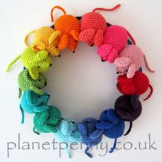 This is the crochet pattern for the Rainbow Mice as seen on the Planet Penny blog, and featured on the UK Handmade website, Craft Blog UK and Pinterest, Knit and Crochet Now and Vogue Knitting.  It is seen here using the Planet Penny Cotton Colours yarn but is suitable for making in any cotton yarn with an appropriately sized hook. The mice can be used individually as toys if the features are embroidered on safely and an appropriate stuffing is used.  Made using Planet Penny Cotton Yarn and…