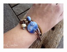 Shoreline Glass Bead Wrap Bracelet #jewellery #jewelry #lampwork #wirework #handmade