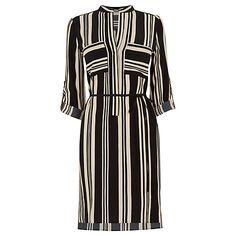 Buy Oasis Stripe Shirt Dress, Black/Multi Online at johnlewis.com