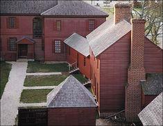 Peyton Randolph House, from kitchen wing toward main house, Williamsburg, Virginia, 1715 & later