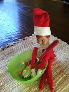 Having cereal -- elf on the shelf