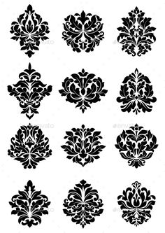 Buy Bold Floral Arabesque Motifs by VectorTradition on GraphicRiver. Large set of bold floral arabesque motifs suitable for damask style fabric and textile FLAT SPORTS MASCOTS MEDICINE F. Charcoal Wallpaper, Damask Wallpaper, Motorcycle Paint Jobs, Ornaments Design, Stencil Designs, Rangoli Designs, Fabric Manipulation, Floral Motif, Embroidery Patterns
